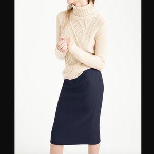 J Crew NAVY No 2 Pencil Skirt in Double Serge Wool